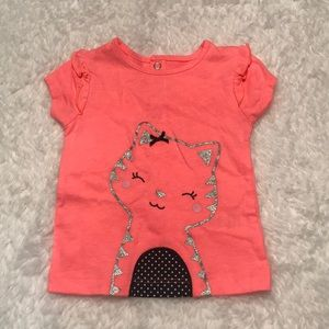 Bright coral Child of Mine cat tee 6-9